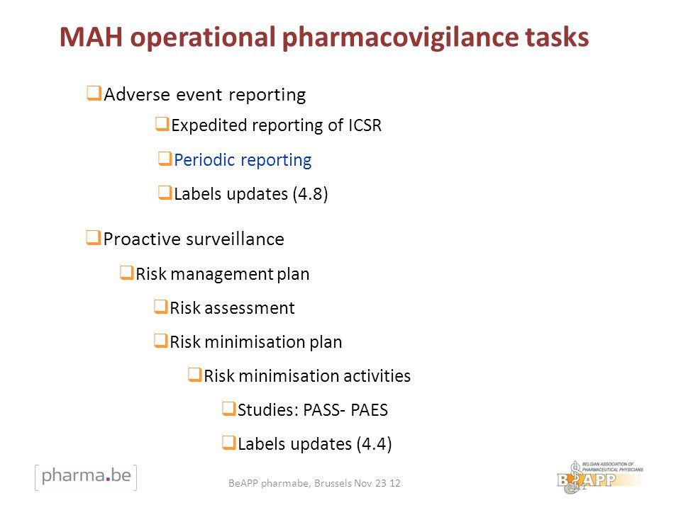 MAH operational pharmacovigilance tasks