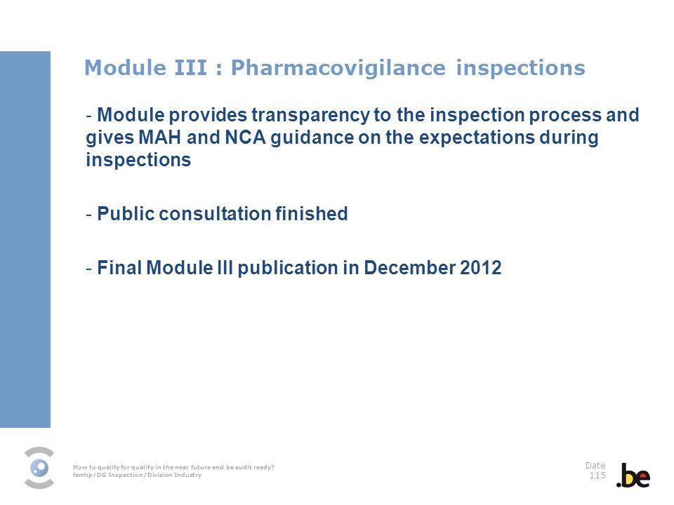 Module III : Pharmacovigilance inspections