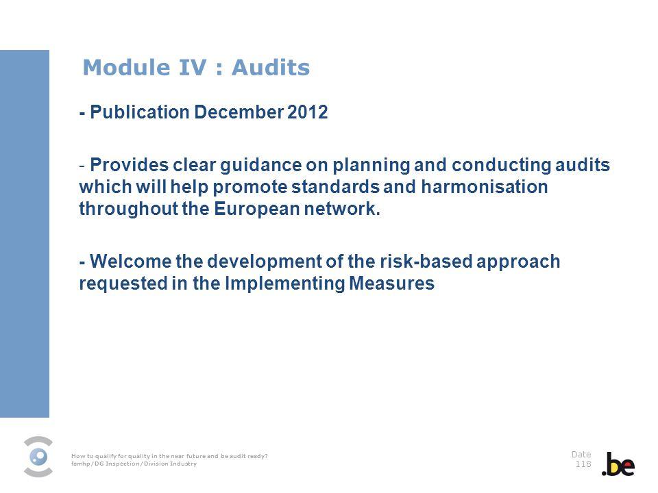Module IV : Audits - Publication December 2012