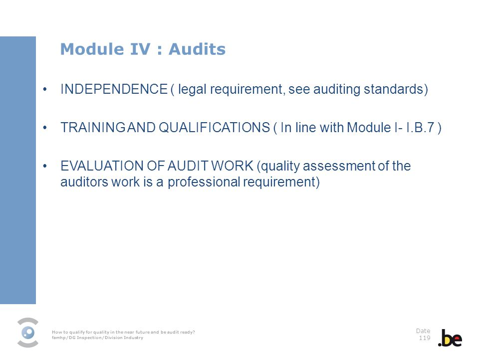 Module IV : Audits INDEPENDENCE ( legal requirement, see auditing standards) TRAINING AND QUALIFICATIONS ( In line with Module I- I.B.7 )