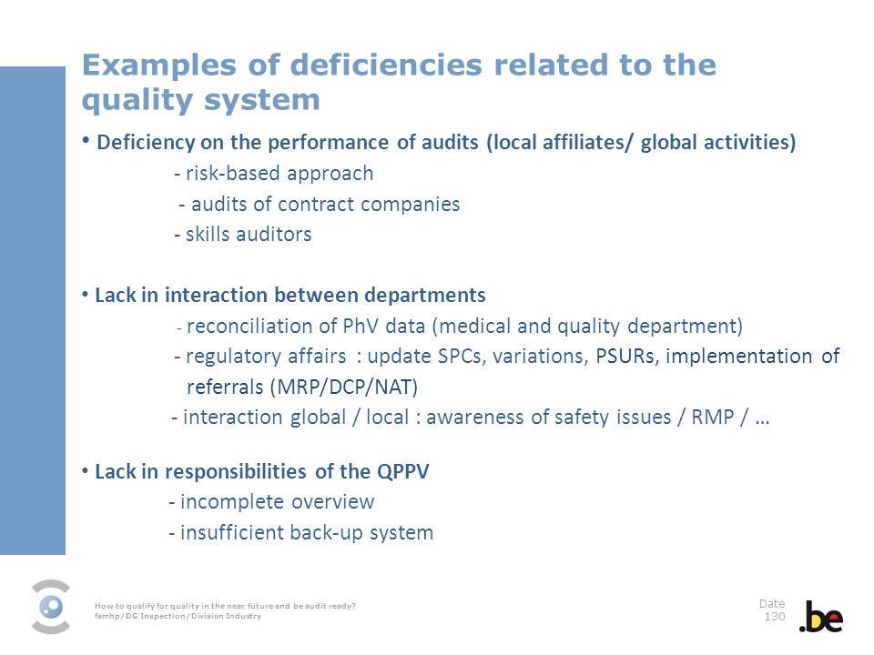 Examples of deficiencies related to the quality system