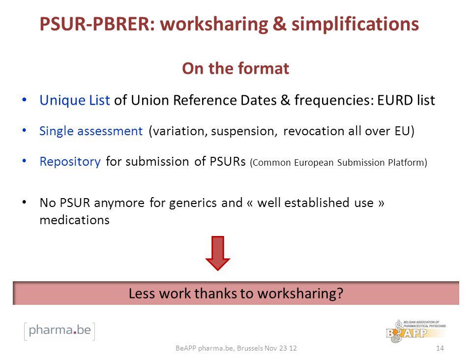 PSUR-PBRER: worksharing & simplifications