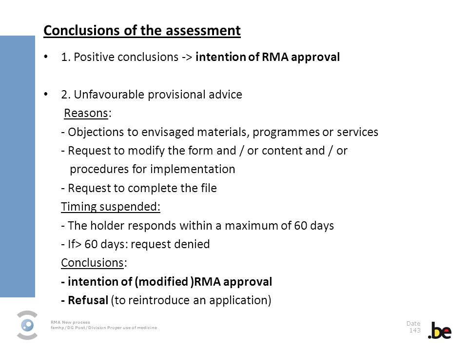 Conclusions of the assessment