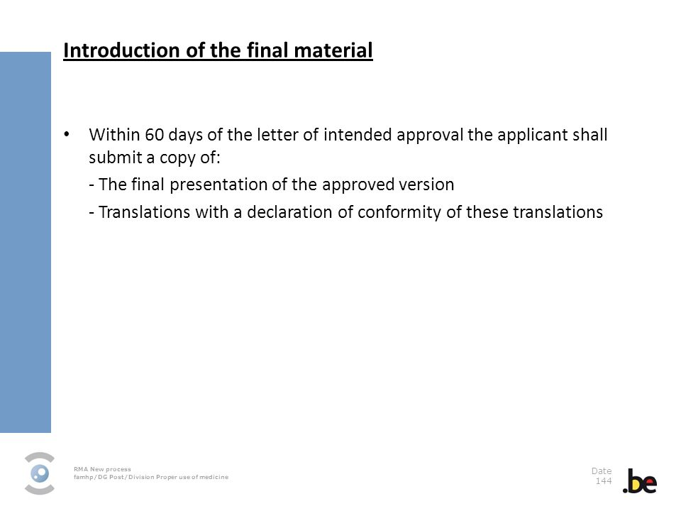 Introduction of the final material