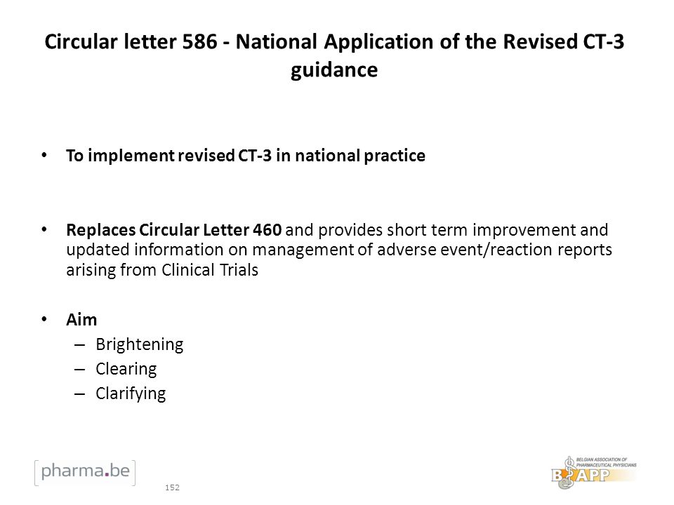 Circular letter 586 - National Application of the Revised CT-3 guidance