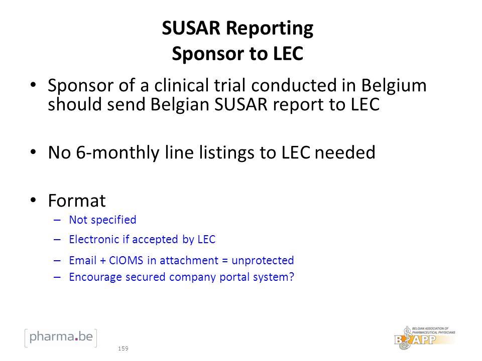 SUSAR Reporting Sponsor to LEC