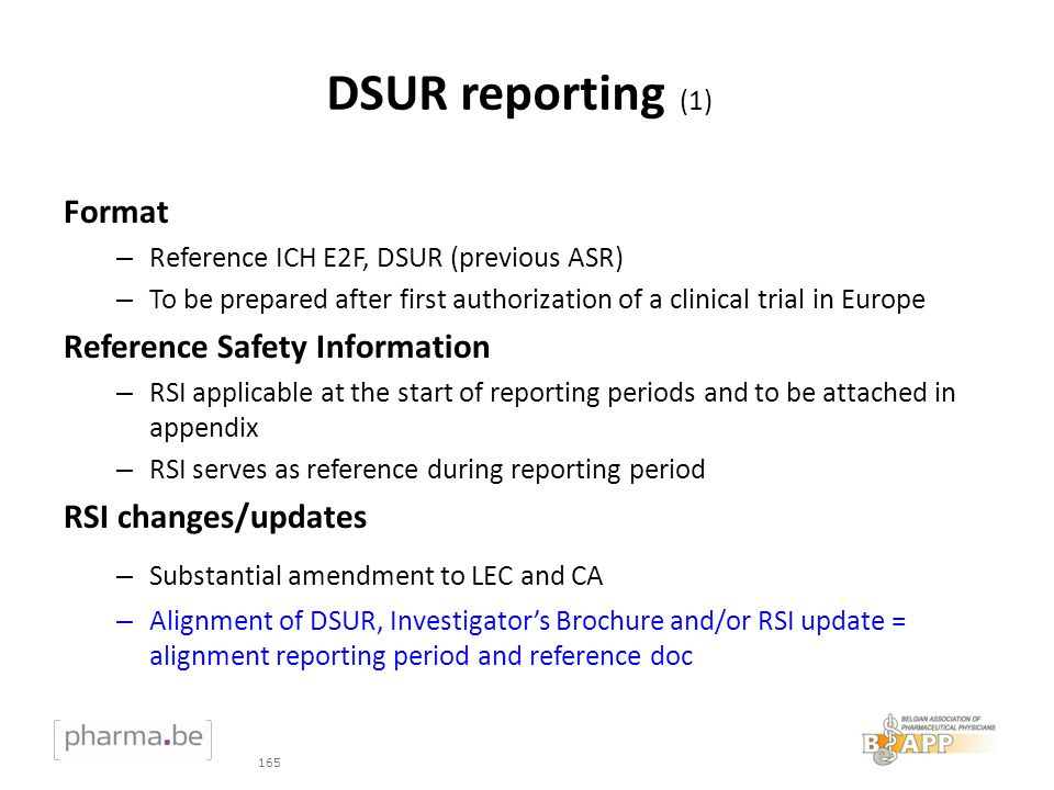 DSUR reporting (1) Format Reference Safety Information