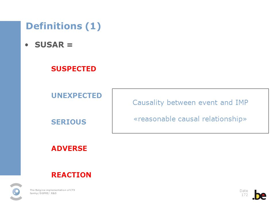 Definitions (1) SUSAR = SUSPECTED UNEXPECTED SERIOUS ADVERSE