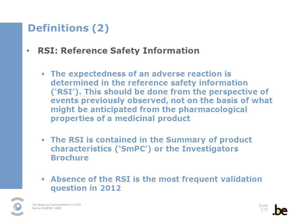 Definitions (2) RSI: Reference Safety Information