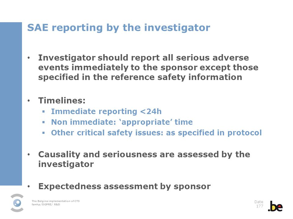 SAE reporting by the investigator
