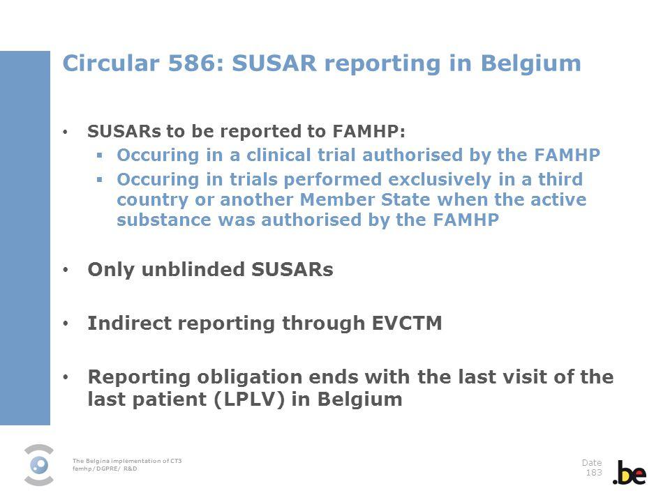 Circular 586: SUSAR reporting in Belgium