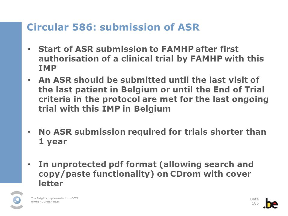 Circular 586: submission of ASR
