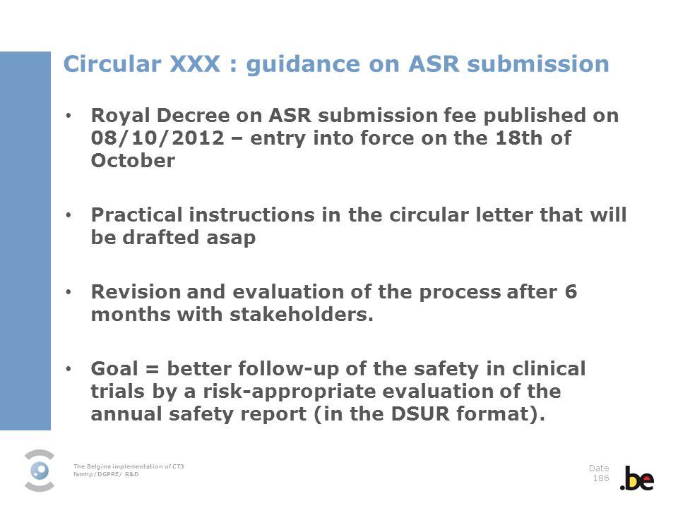 Circular XXX : guidance on ASR submission