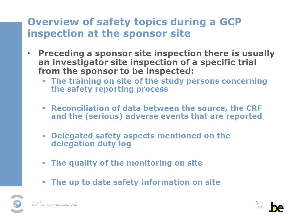 Overview of safety topics during a GCP inspection at the sponsor site
