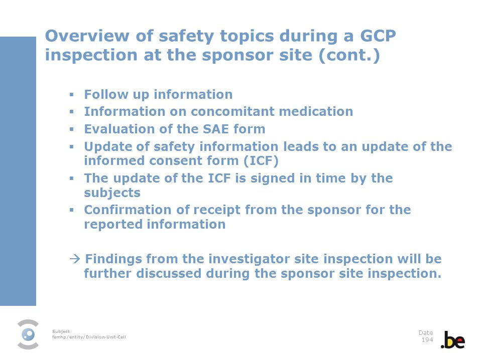 Overview of safety topics during a GCP inspection at the sponsor site (cont.)