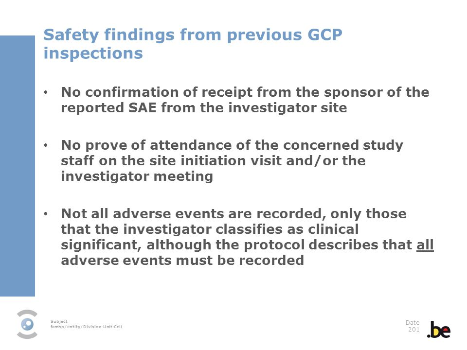 Safety findings from previous GCP inspections
