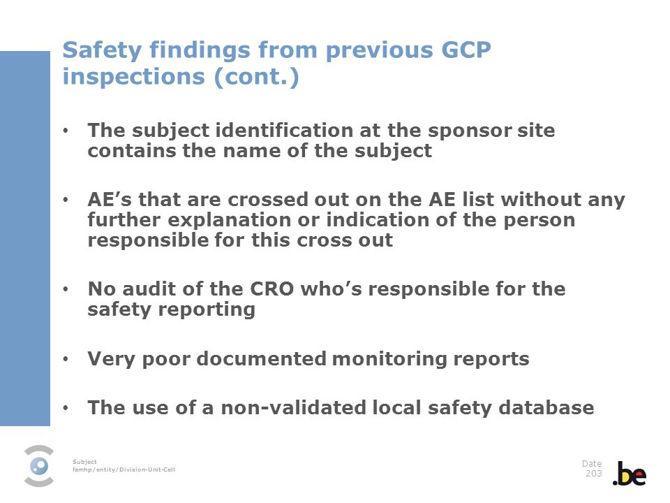 Safety findings from previous GCP inspections (cont.)