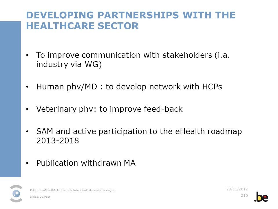DEVELOPING PARTNERSHIPS WITH THE HEALTHCARE SECTOR