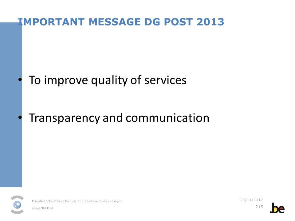 IMPORTANT MESSAGE DG POST 2013