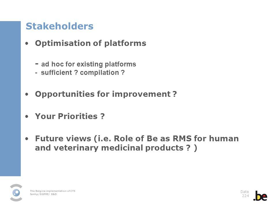 Stakeholders Optimisation of platforms - ad hoc for existing platforms