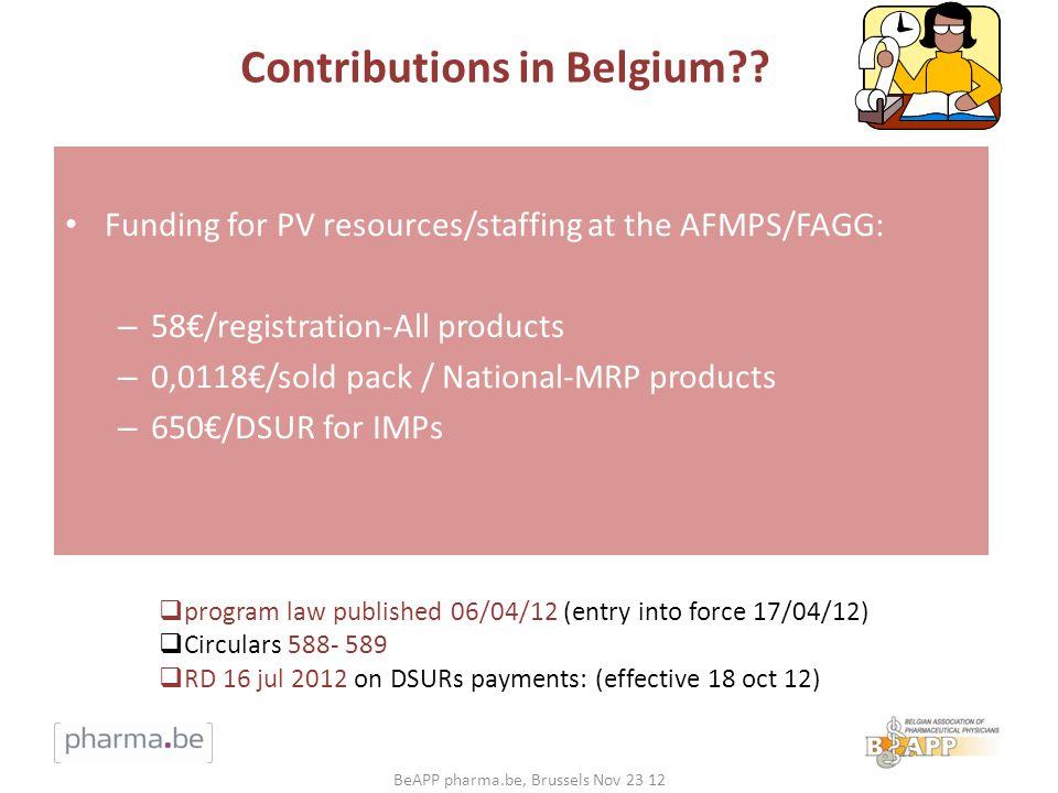 Contributions in Belgium