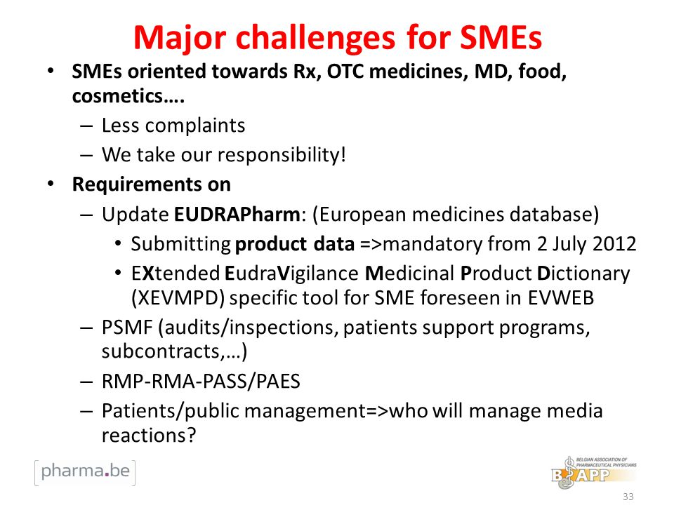 Major challenges for SMEs