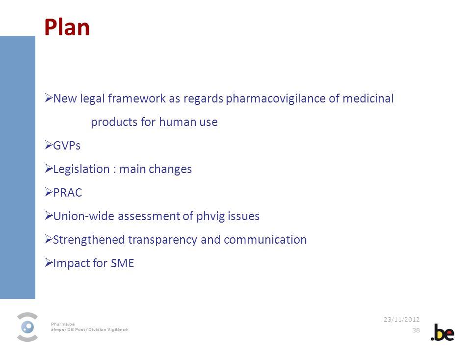 Plan New legal framework as regards pharmacovigilance of medicinal products for human use. GVPs. Legislation : main changes.