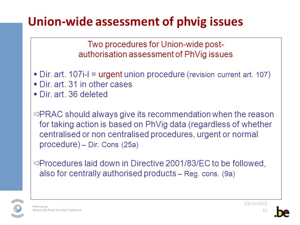 Union-wide assessment of phvig issues