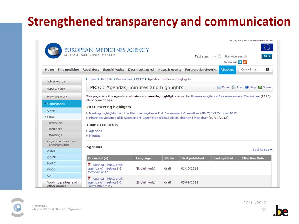 Strengthened transparency and communication