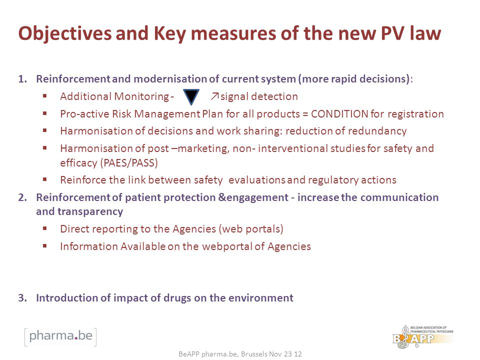 Objectives and Key measures of the new PV law