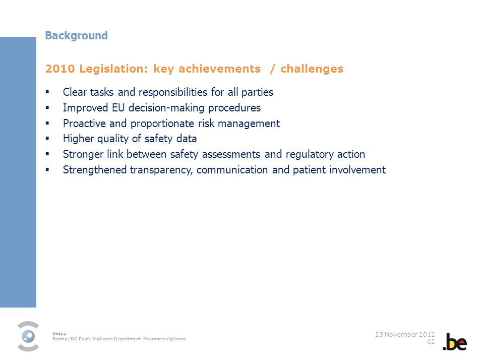 Background 2010 Legislation: key achievements / challenges. Clear tasks and responsibilities for all parties.