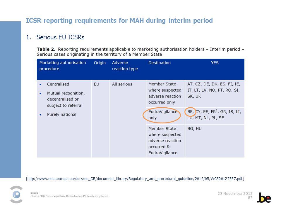 ICSR reporting requirements for MAH during interim period