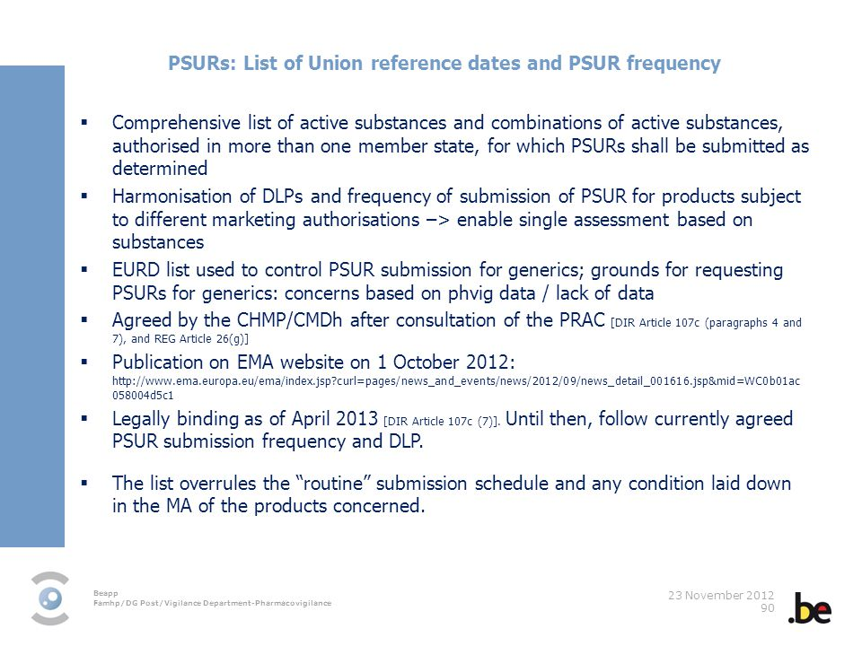 PSURs: List of Union reference dates and PSUR frequency