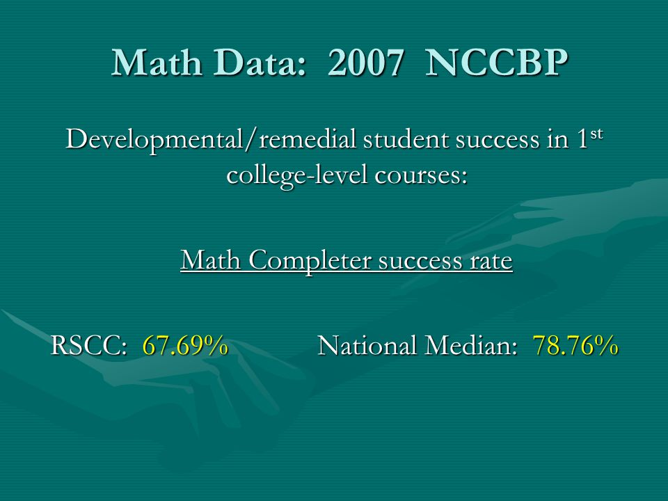 Math Data: 2007 NCCBP Developmental/remedial student success in 1st college-level courses: Math Completer success rate.