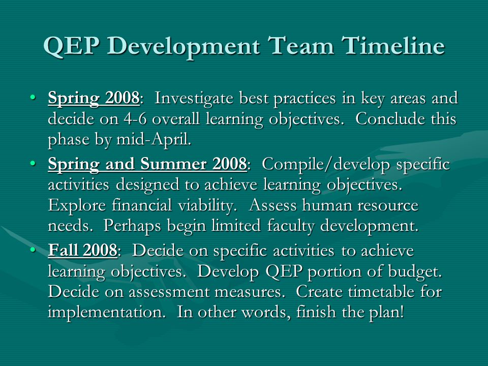 QEP Development Team Timeline