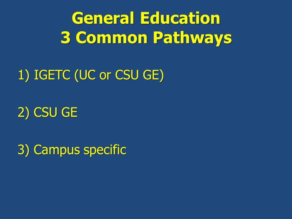 General Education 3 Common Pathways