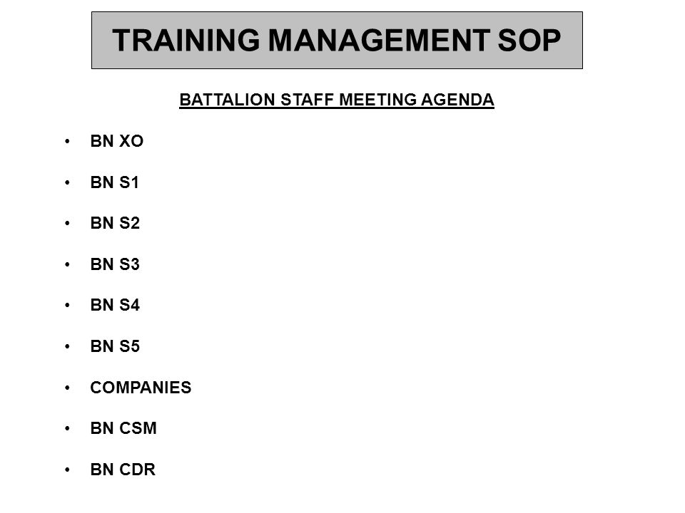 TRAINING MANAGEMENT SOP