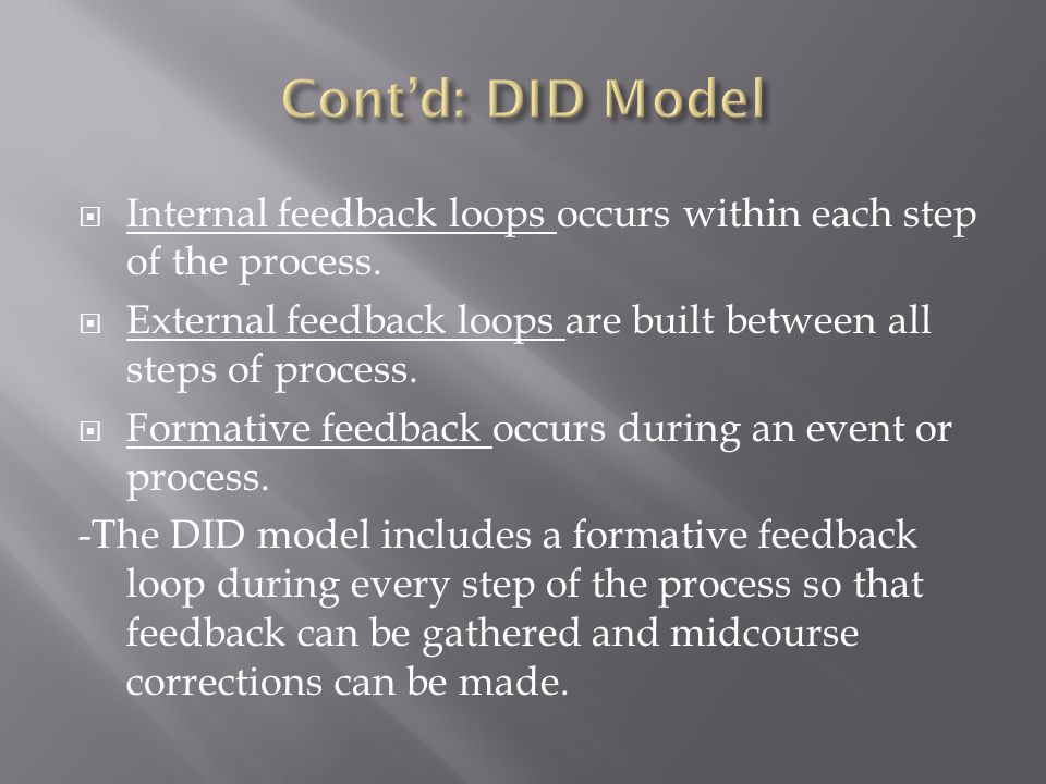 Cont'd: DID Model Internal feedback loops occurs within each step of the process. External feedback loops are built between all steps of process.