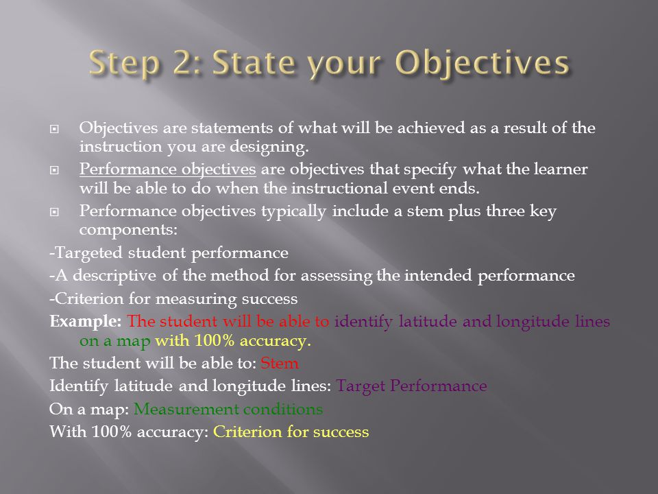 Step 2: State your Objectives