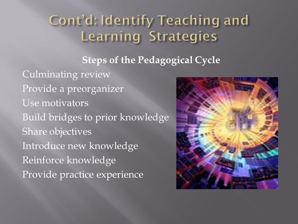 Cont'd: Identify Teaching and Learning Strategies