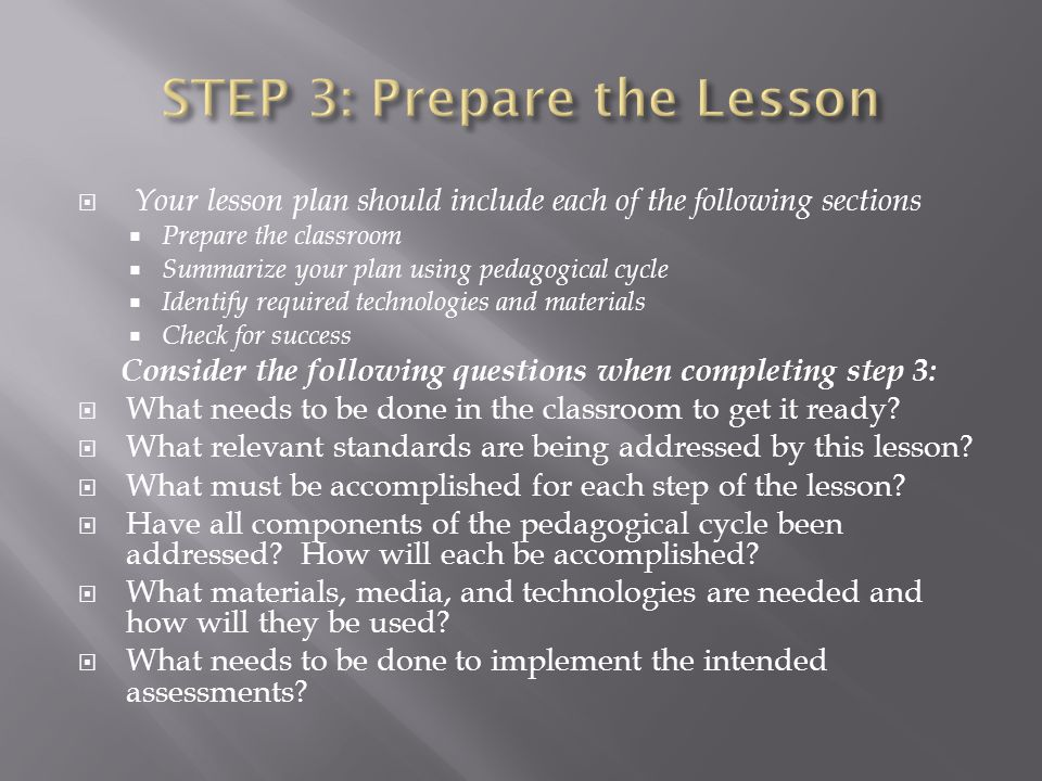 STEP 3: Prepare the Lesson
