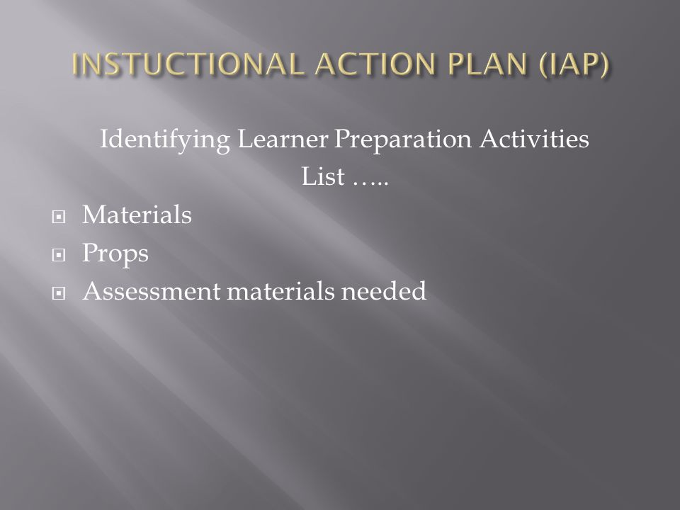 INSTUCTIONAL ACTION PLAN (IAP)