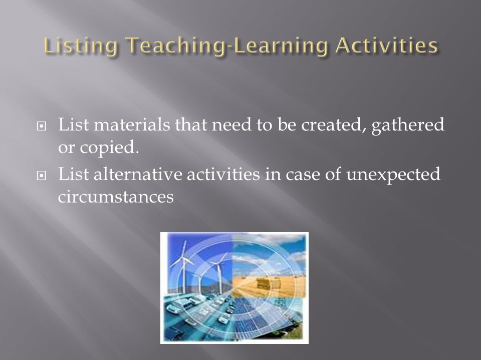 Listing Teaching-Learning Activities