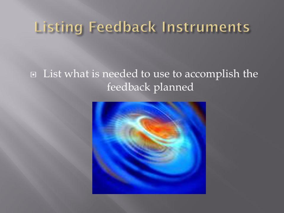 Listing Feedback Instruments