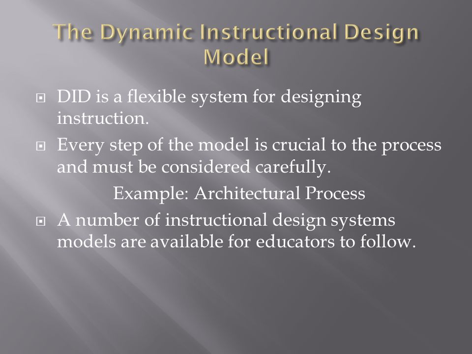 The Dynamic Instructional Design Model