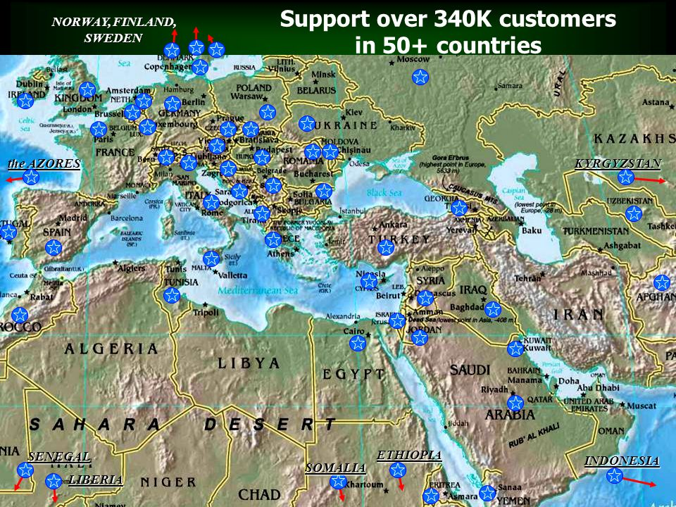 Support over 340K customers in 50+ countries