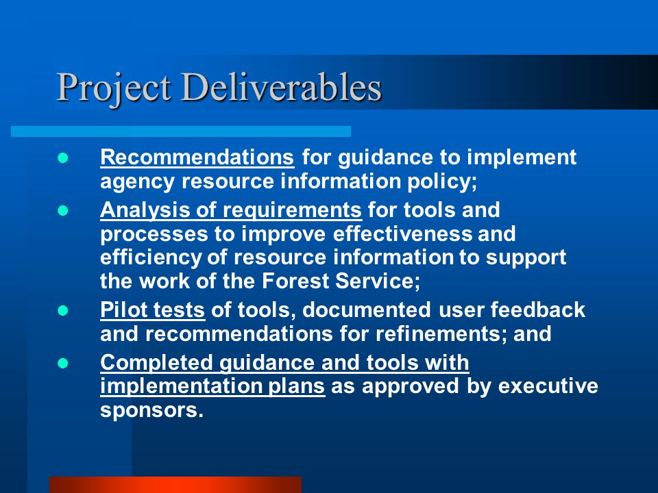 Project Deliverables Recommendations for guidance to implement agency resource information policy;