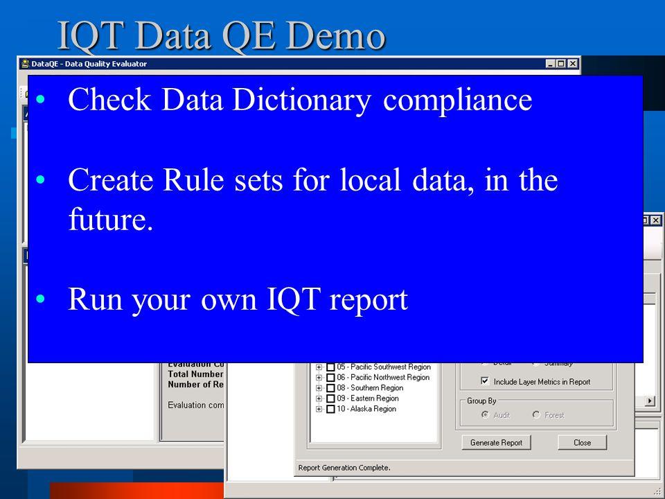 IQT Data QE Demo Check Data Dictionary compliance