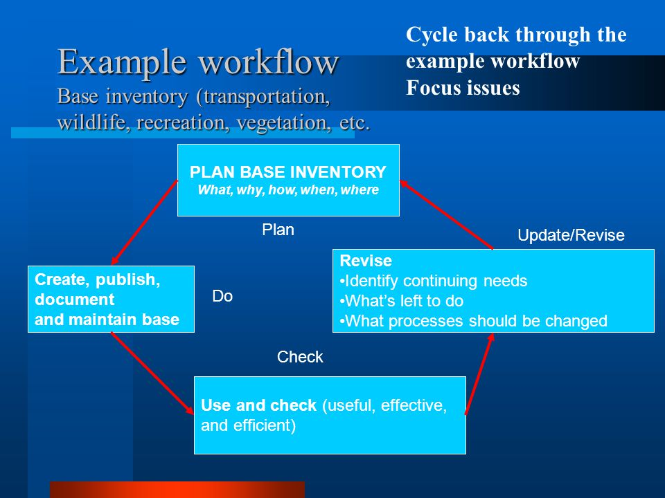 Cycle back through the example workflow Focus issues