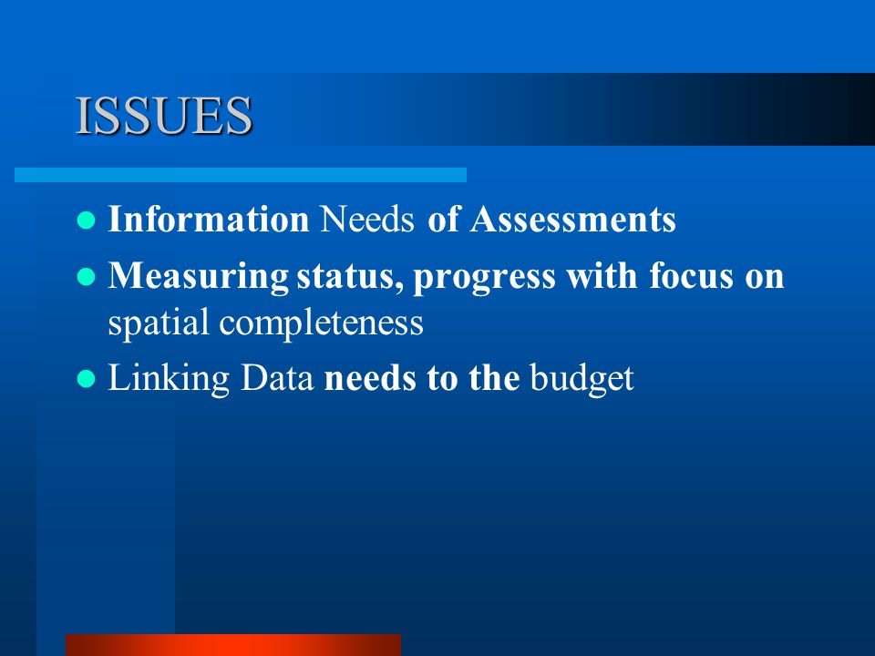 ISSUES Information Needs of Assessments